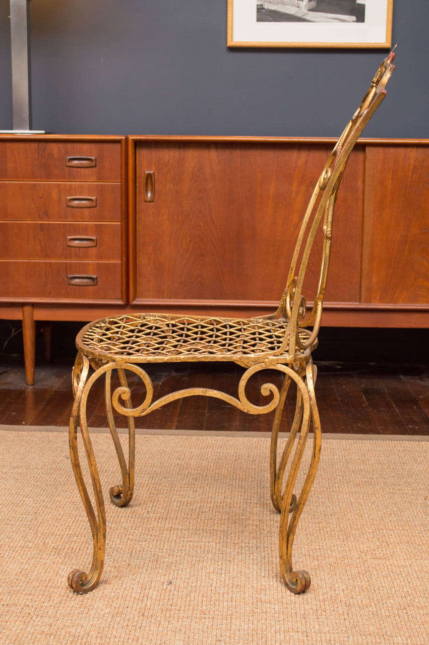 Mid-20th Century Jean Charles Moreaux Gilt Metal Chair For Sale