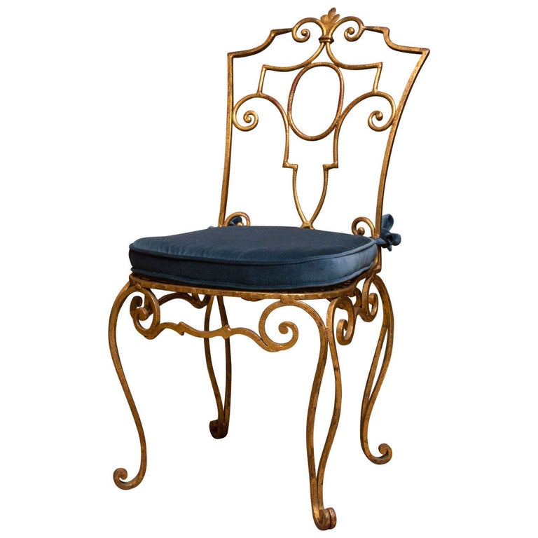Jean Charles Moreaux Gilt Metal Chair For Sale