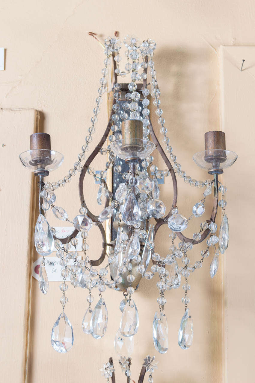 Beaded Crystal Wall Sconces : Pair, Three Light Beaded Crystal Sconces at 1stdibs