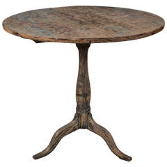 19th Century Tilt-Top Swedish Table with Remnants of Original Paint
