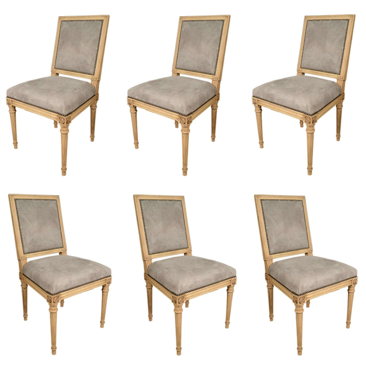 antony todd collection grey suede louis xvi chairs at 1stdibs