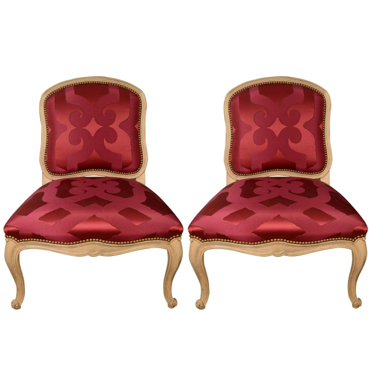 Slipper Chairs Upholstered In Red Silk Dedar Fabric At 1stdibs
