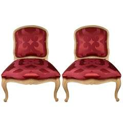 Slipper Chairs Upholstered In Red Silk Dedar Fabric