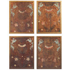A Set of Four 18c. Embossed Polychrome Leather Panels