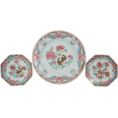 A Group of 3 Famille Rose Chinese Export Dishes with Ducks