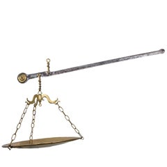 Large Brass and Steel Hanging Scale