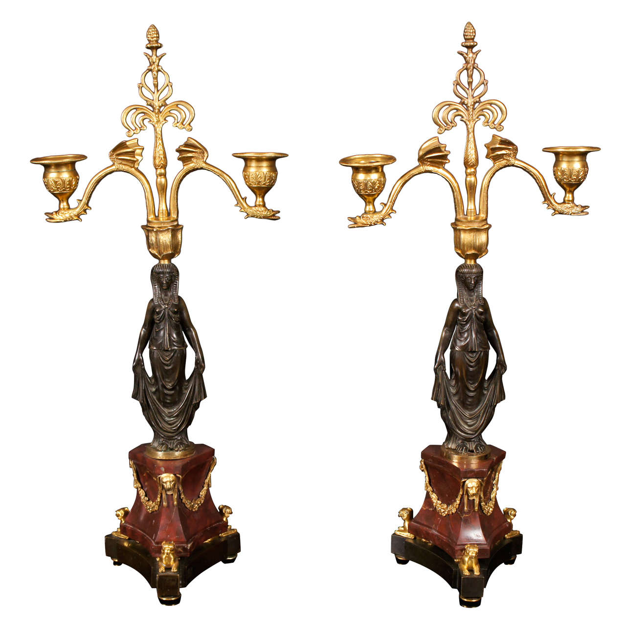 Fine 19th Century Pair of Gilded & Patinated Bronze Two Light Candlelabra