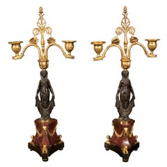 19th Century Pair of Gilded & Patinated Bronze Two Light Candelabra
