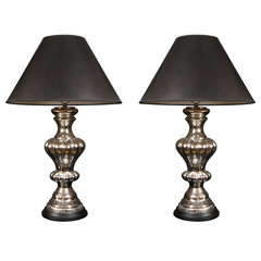 Pair of Large Vintage NeoBaroque Mercury Glass Lamps
