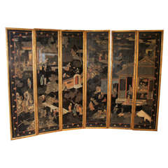 A Fine Set of Framed Cormandel 19th Century Lacquered Panels