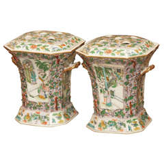 Pair of 18th Century Chinese Export Famille Vert Bough Pots