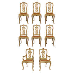 Set of Eight Venetian Painted Dining Chairs