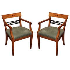 Pair of Italian Beidermier Armchairs