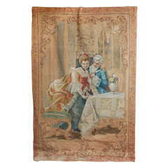 1900's French Painted On Canvas Tapestry.