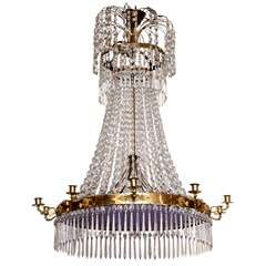 19th  Century Russian, Cut and Blue Glass Chandelier