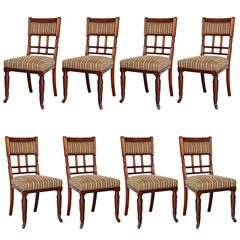 Set of Eight, Late 19th Century English, Mahogany Dining Chairs