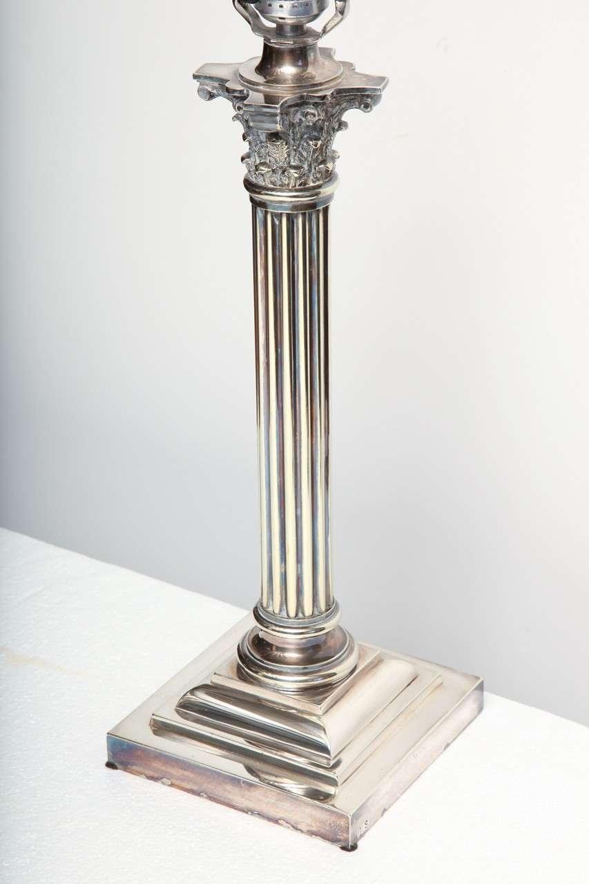 Silver Plate Corinthian Column Lamp At 1stdibs