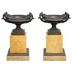 Pair of 19th Century Bronze and Marble Tazza