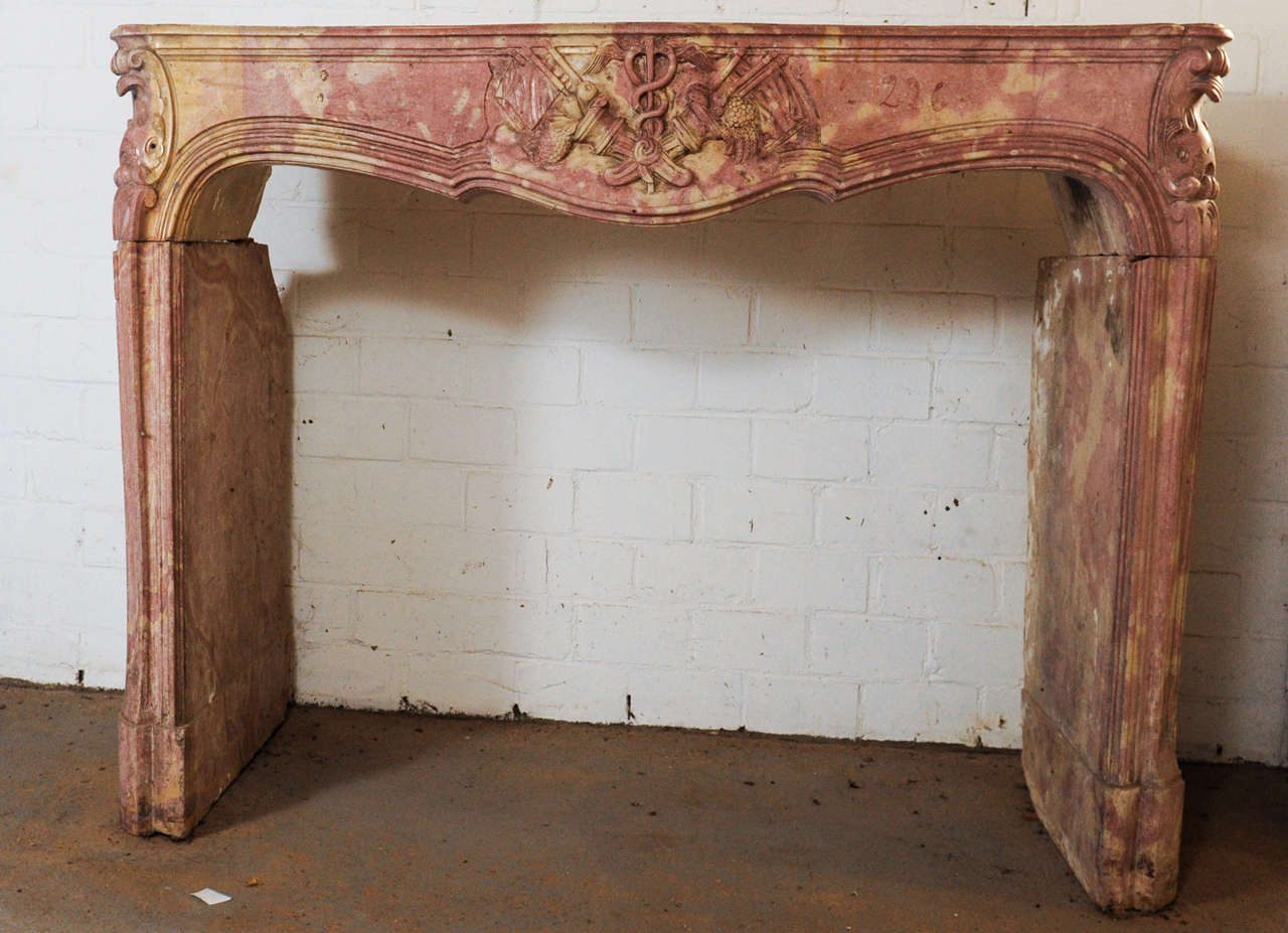 early 18th century french baroque carved limestone fireplace
