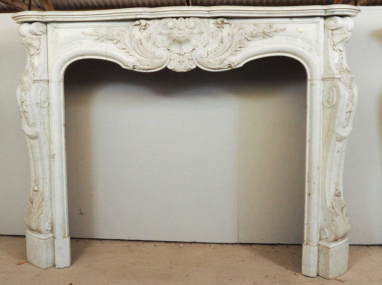 Mid 19th century french rococo white carrara marble fireplace mantel piece for sale at 1stdibs - Fireplace mantel piece ...