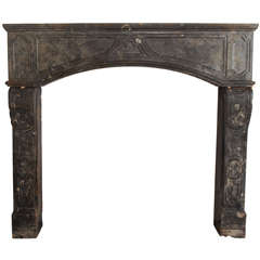 rare early 18th C. French marbleized limestone fireplace / mantel piece
