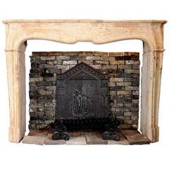 Beautiful 18th Century French Limestone Fireplace