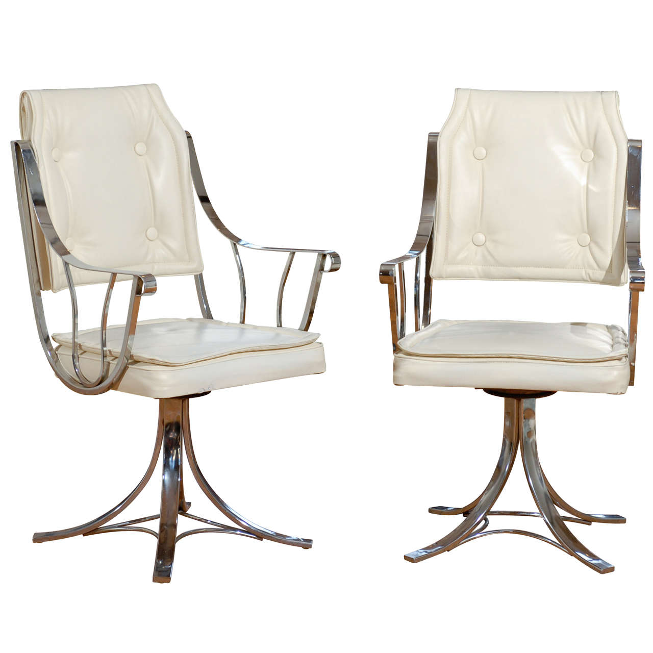 Set Of Four Vintage Swivel Armchairs By Contempo 1