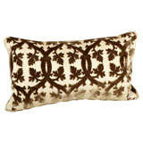 Brown and Ivory Scalamandre Velvet Pillow