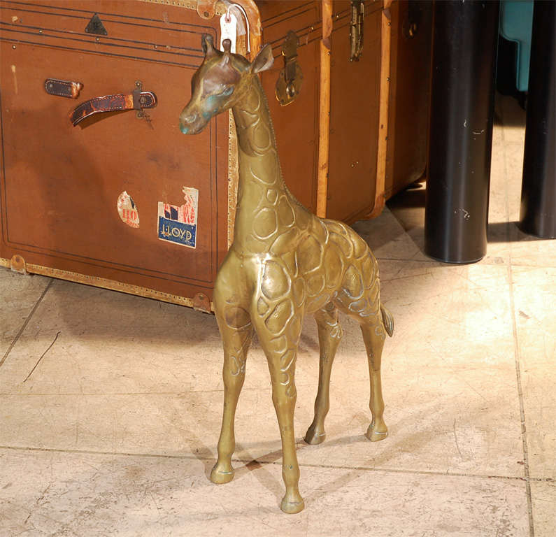 Two Large Brass Giraffes Sculptures 2