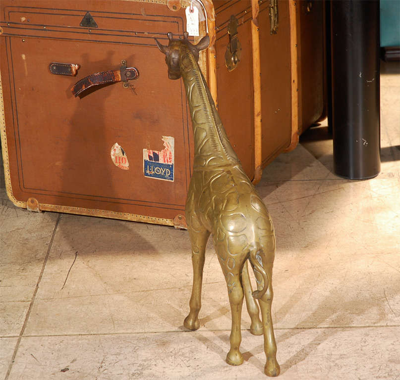 Two Large Brass Giraffes Sculptures 7