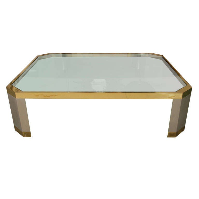 Ron seff sleek steel brass and glass cocktail table at 1stdibs Sleek coffee table