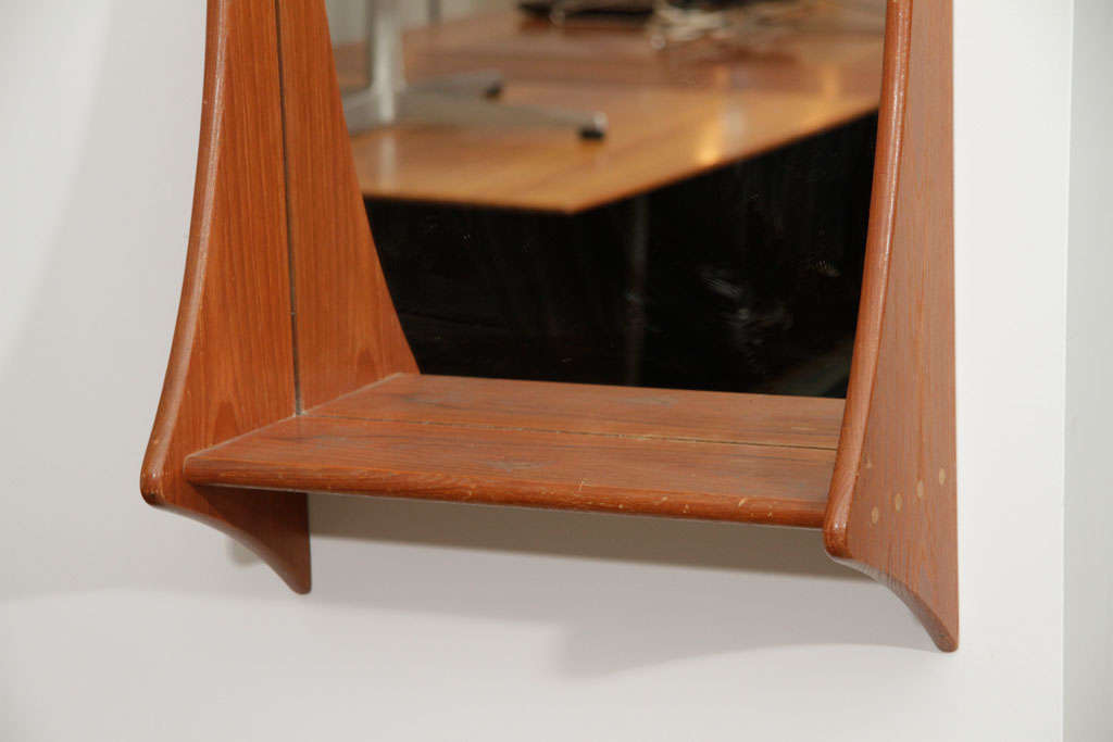 Mid-Century Modern Danish Teak Wall Mirror with Shelf For Sale