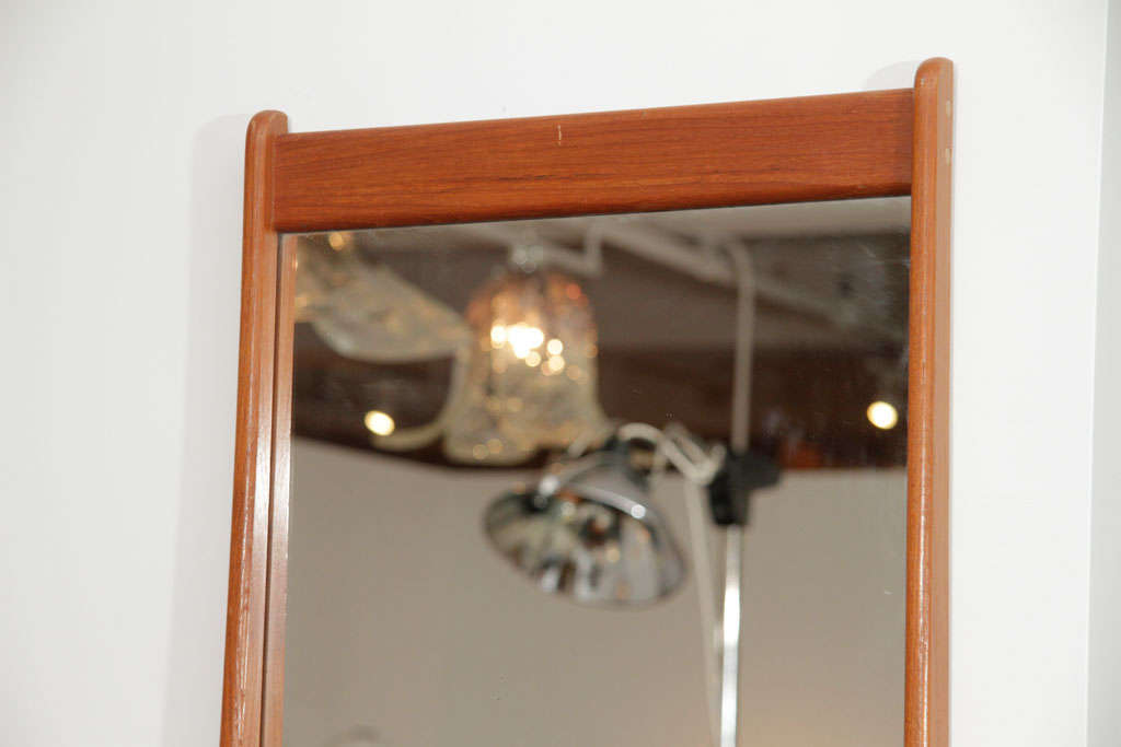 Danish Teak Wall Mirror with Shelf In Excellent Condition For Sale In New York, NY