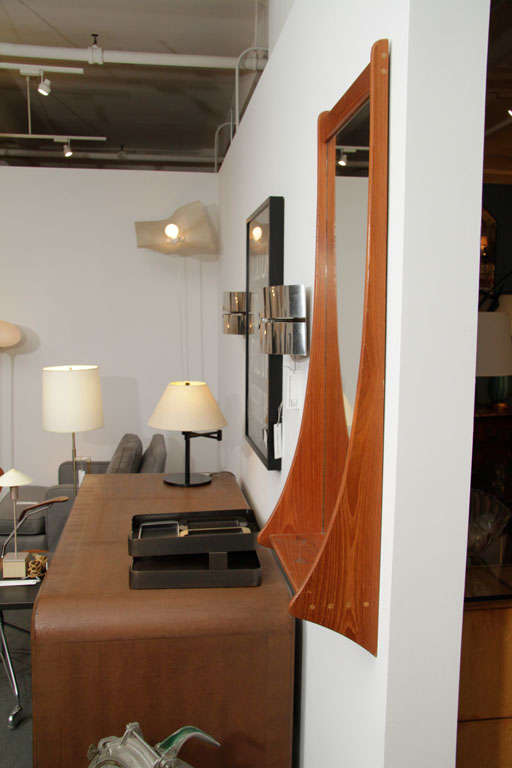 Mid-20th Century Danish Teak Wall Mirror with Shelf For Sale