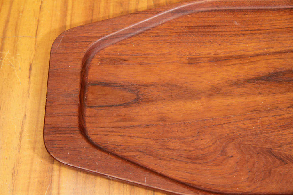 Teak serving tray with border by Digsmed, Denmark, circa 1960. Signed.