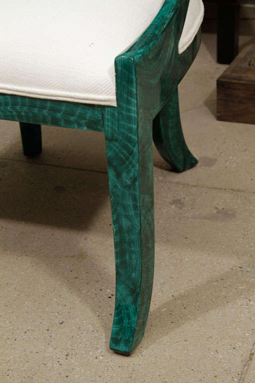 A pair of classically styled spoon back chairs <br /> With a faux malachite finish. A glamorous take on <br /> A classic