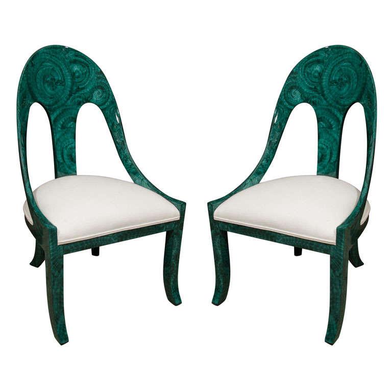 Pair Malachite Chairs