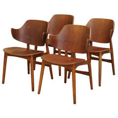 Ib Kofod-Larsen Shell Chair, Set of Four