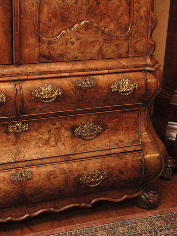 18th Century Antique Dutch Queen Anne Burled Walnut Cabinet For Sale