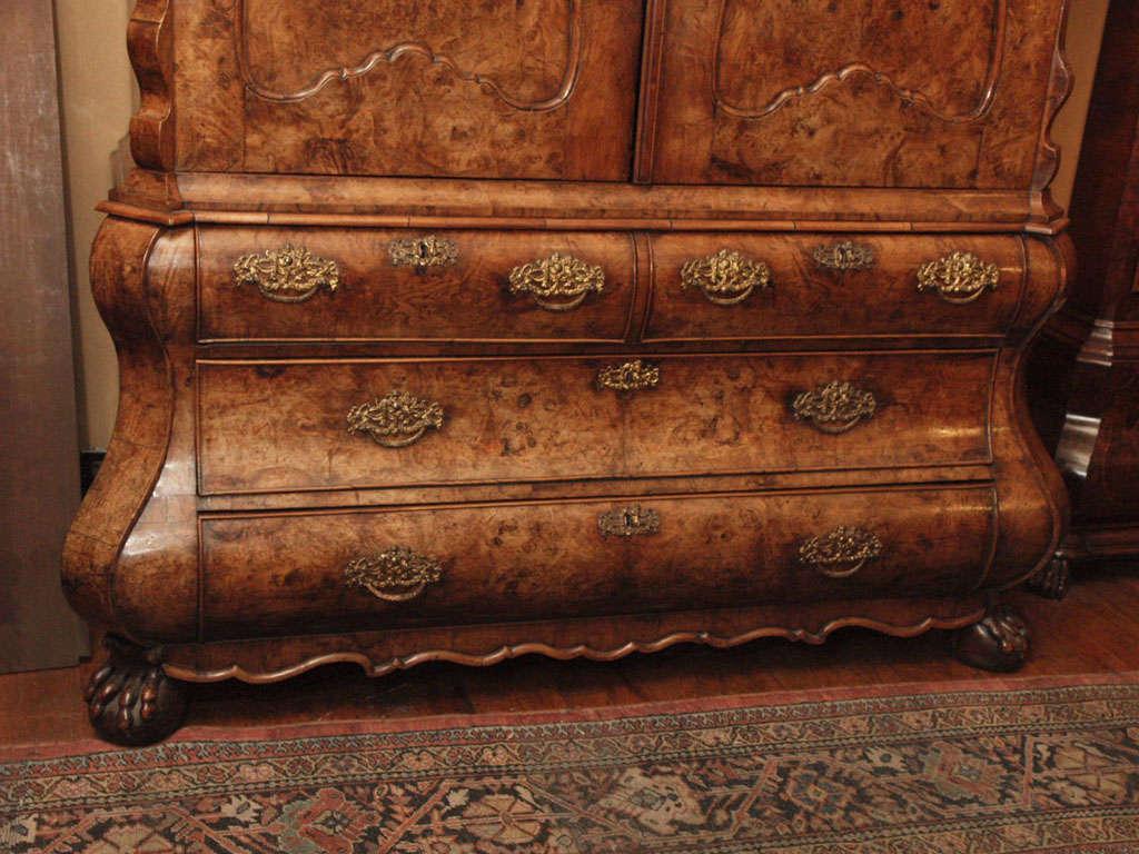 Antique Dutch Queen Anne Burled Walnut Cabinet For Sale 1