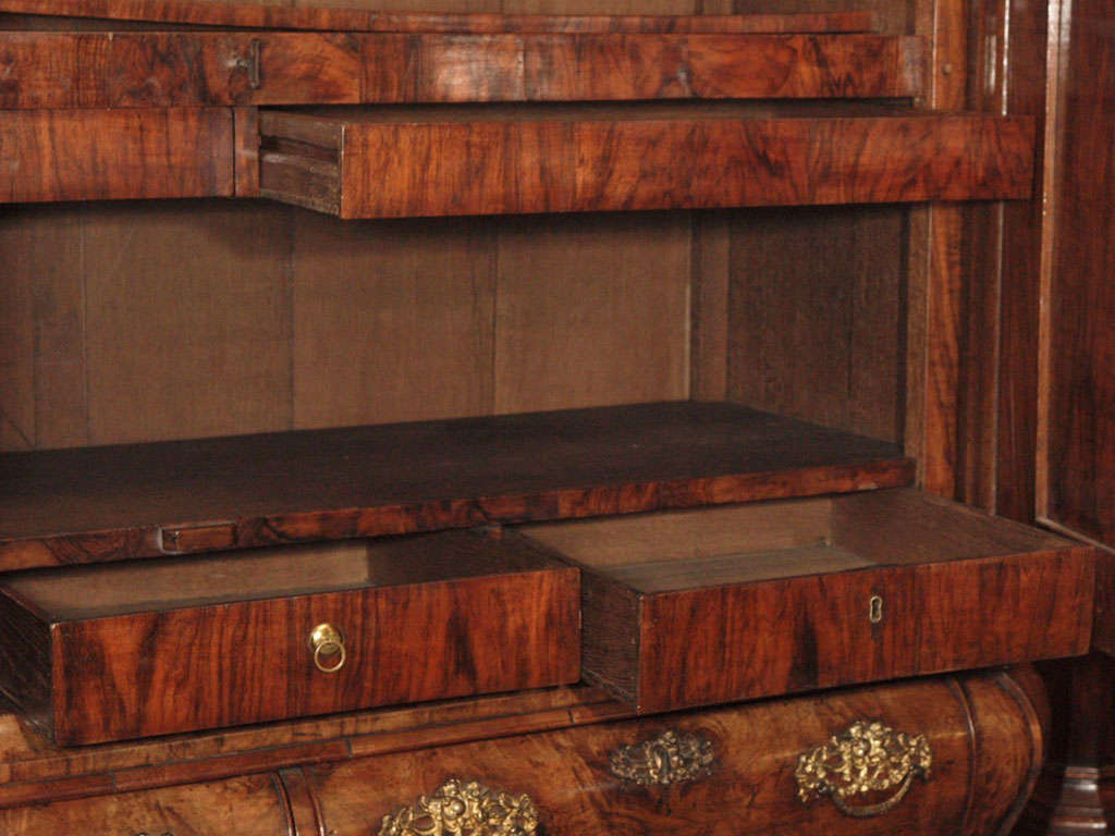 Antique Dutch Queen Anne Burled Walnut Cabinet For Sale 2