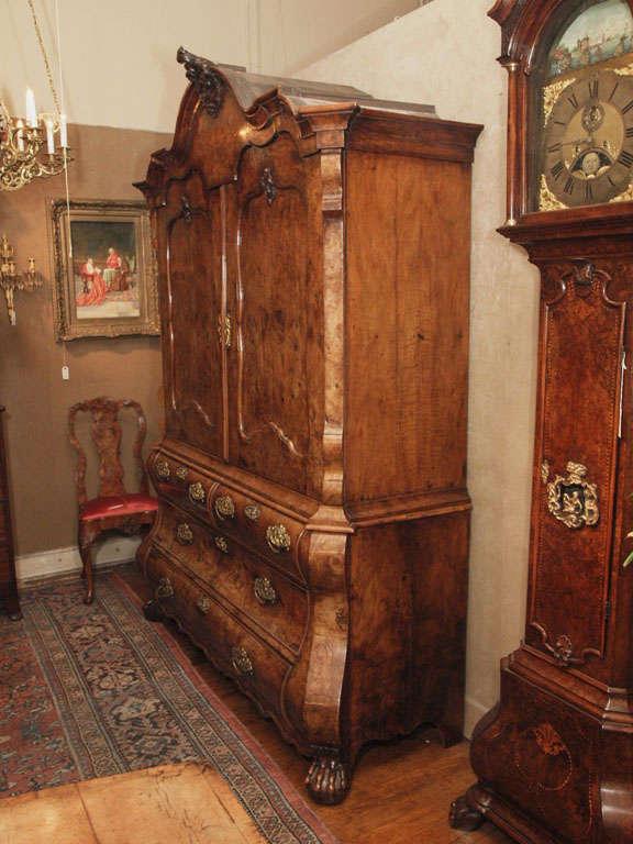 Antique Dutch Queen Anne Burled Walnut Cabinet For Sale 6