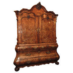 Antique Dutch Queen Anne Burled Walnut Cabinet