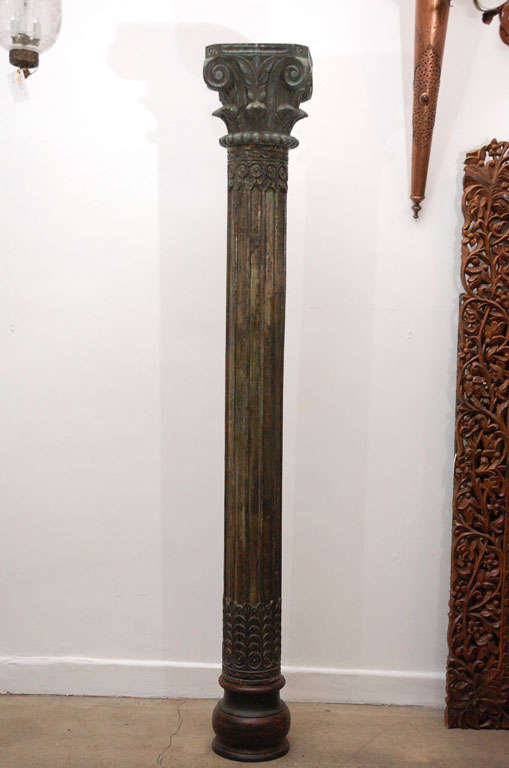 Pair of Carved Wooden Pillars image 2