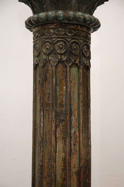 Pair Of Carved Wooden Pillars Columns For Sale At 1stdibs