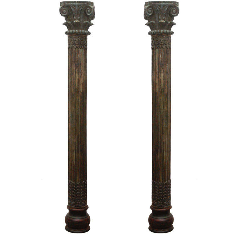 Pair of Carved Wooden Pillars Columns