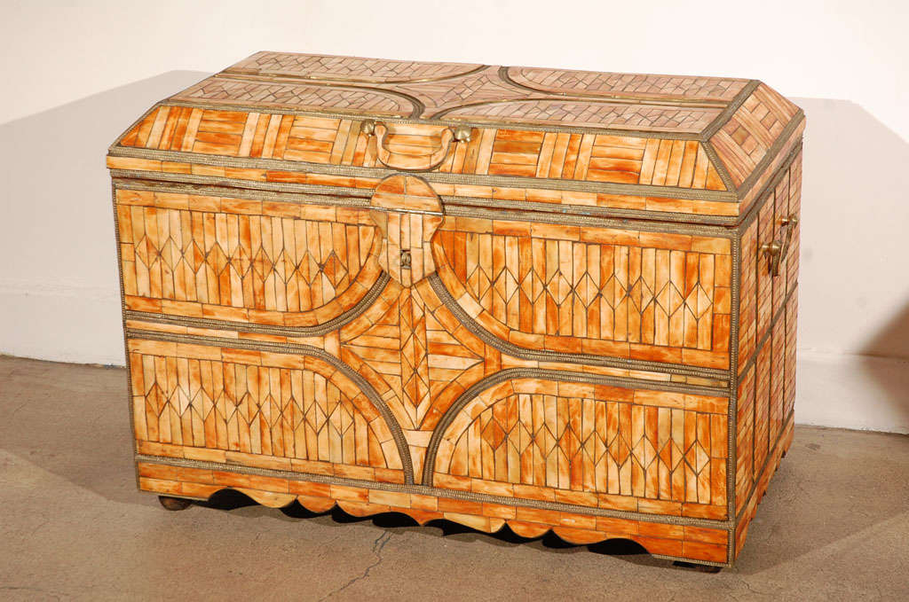 Spectacular large handcrafted Hispano Moresque style dowry coffer heavily inlaid with camel bone and brass.