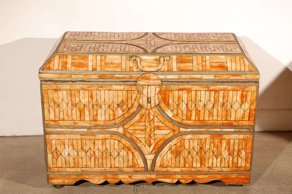 Hand-Carved Moroccan Moorish Wedding Large Trunk Coffer Inlaid with Bone and Brass For Sale