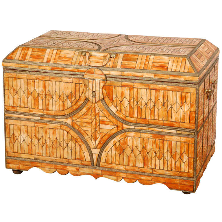 Moroccan Moorish Wedding Large Trunk Coffer Inlaid with Bone and Brass For Sale