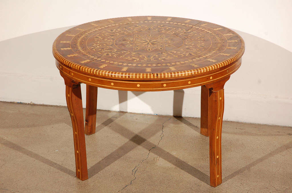 Handcrafted Round Moroccan Inlaid Coffee Table, Cedar Wood Inlaid With  Various Fruitwood Parquetry And Mother